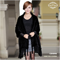 Free Shipping CDS090 2014 Hot Sale Europe Fashion Winter Knitted Big Genuine Mink Fur Shawl  Can Be Used As Scarf