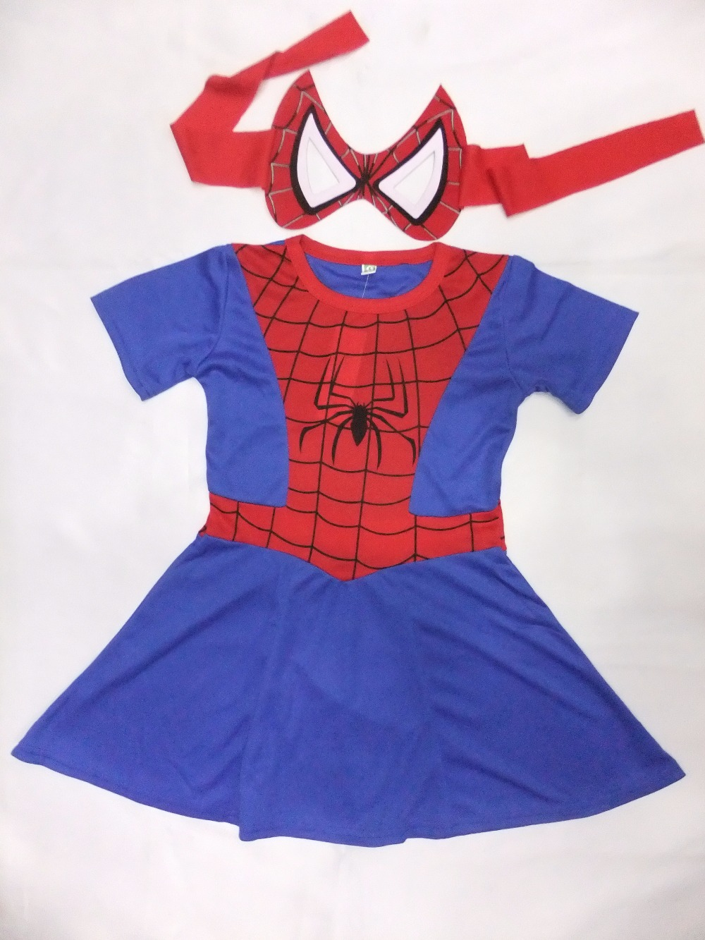 Red 3-7 years girl spider-man dress Role-playing clothing kid spiderman one-piece dress
