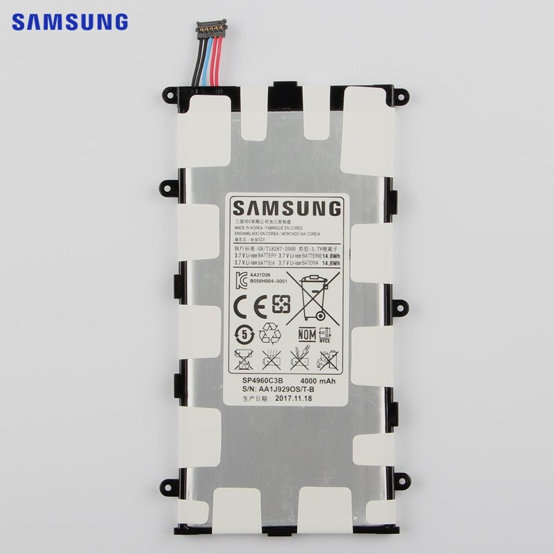 SAMSUNG Original Replacement Battery SP4960C3B For Samsung GALAXY Tab 7.0 Plus P3100 P3110 P6200 P6210 Authentic Tablet Battery кабель samsung m190s p3100 p3110 p5100 p5110 p6210 p6200