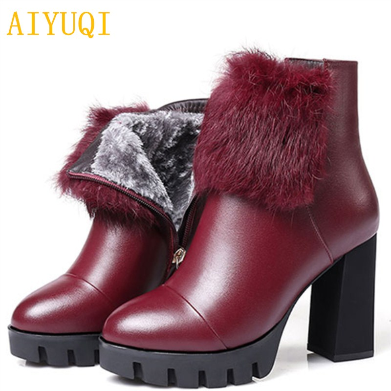 AIYUQI 2018 new genuine leather boots lady winter fashion mink women wedding high heel boots size 34# Sexy platform boots aiyuqi 2018 spring new women s genuine leather shoes waterproof platform sexy plus size 41 42 43 fashion heel shoes female