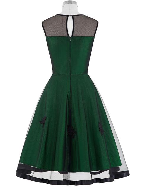 2016 Dresses Robe Femme Women Summer Style Casual Clothing Retro Vintage Burgundy Green Lace Dress 50s Rockabilly Swing Dress