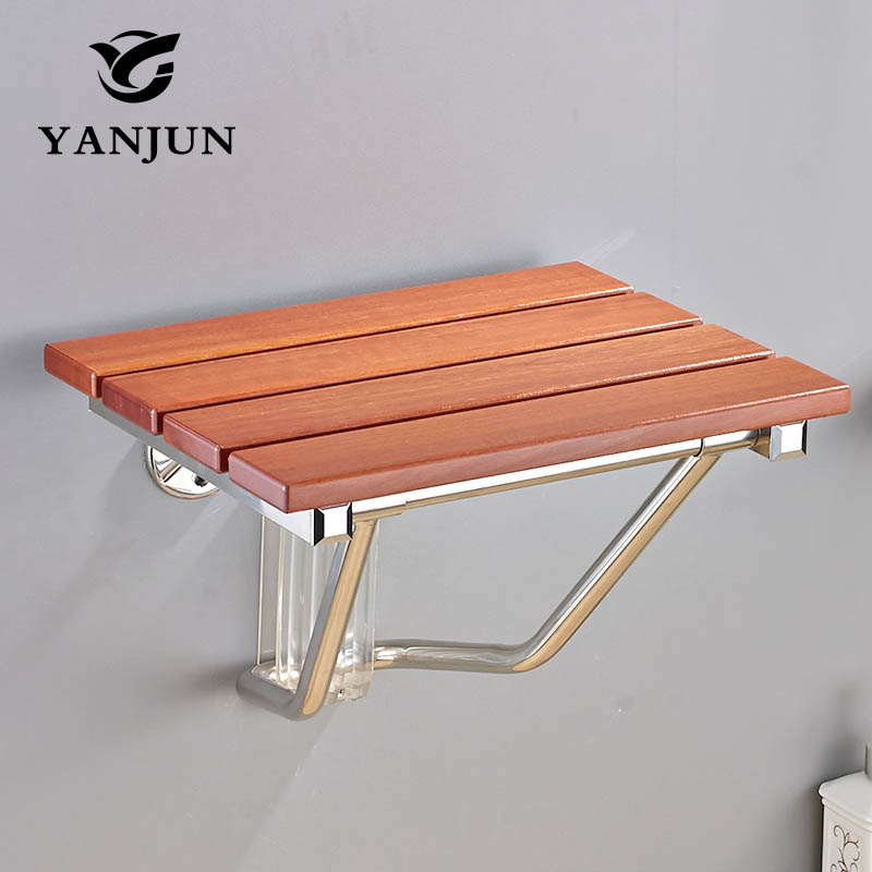 YANJUN Folding Bath Shower Seat Wall Mounted Relaxation Shower Chair Solid Wood Shower Folding Seat YJ