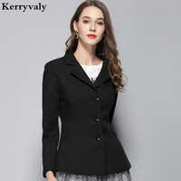 Autumn Long Sleeve Office White Women Jacket Abrigos Mujer Invierno 2019 Formal Black Jacket Casacos D1651