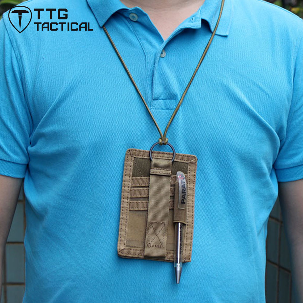 TTGTACTICAL Military Tactical Patch ID Card Holder Neck Badge Pen Holder Neck Lanyard W/ Key Ring And Credit Card Organizers