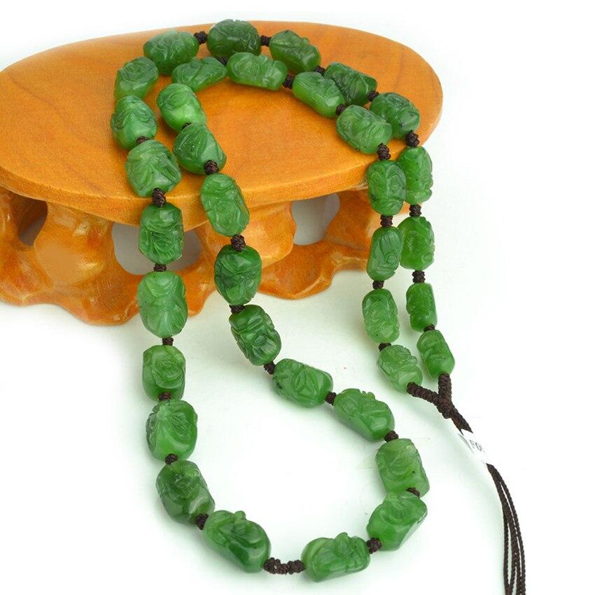 Natural hetian green stone 18 luohan necklace pendant hang rope men and women/1 selling jewelry xinjiang hetian jadeite jadeite overlord pendant natural jadeite men 18 arhat necklace pendant