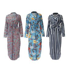 Womens Long Sleeve Notched Lapel Collar V-Neck Maxi Blouse Dress Belted High Waist Split Vertical Stripes Floral Pockets Front F недорого