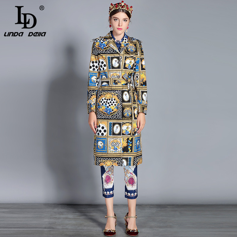 LD LINDA DELLA Autumn New Long Trench Coat Women Single Breasted Belt Vintage Outerwear Outwear