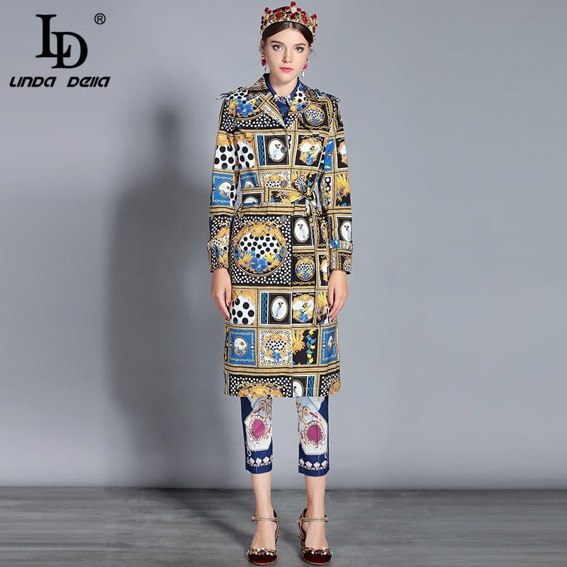 Ld linda della 가을 뉴 롱 트렌치 코트 여성 싱글 브레스트 벨트 빈티지 아웃웨어 아웃웨어-에서트렌치부터 여성 의류 의  그룹 1