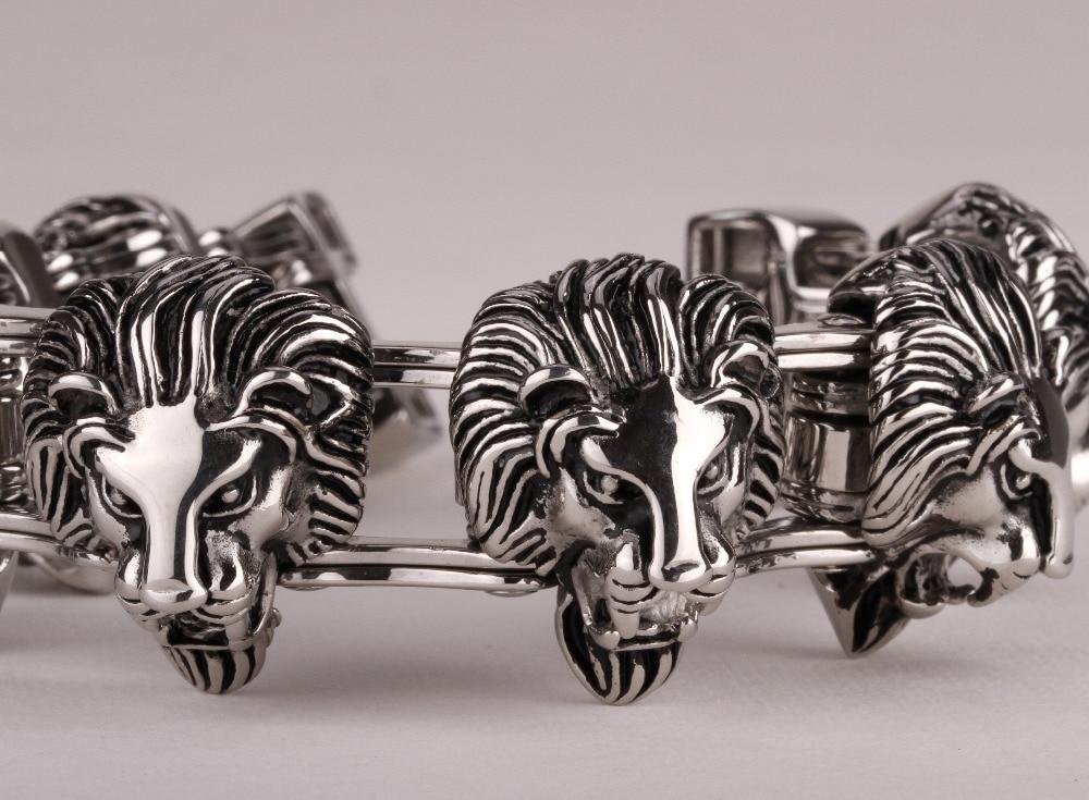 Lion en acier inoxydable bracelet pour les hommes 316L biker bijoux lourd animal bracelet 221 en gros
