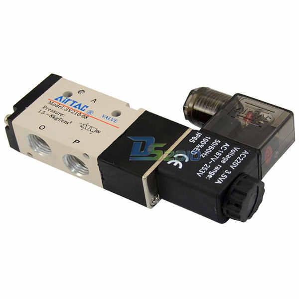 """Dobrej jakości 1/4 """"AC 220 V 3way 2 pozycja pneumatyczny elektryczny zawór elektromagnetyczny NPT Air aluminium"""