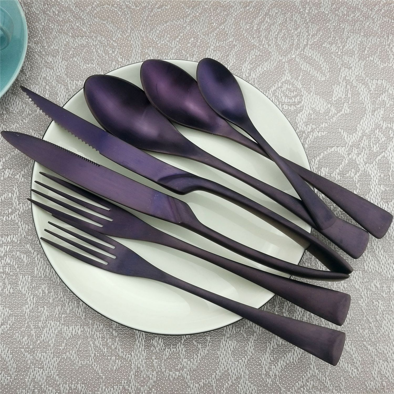 7 14 28PCS Matte Purple Dinnerware Sets 18/10 Stainless Steel Cutlery Silverware Set Matte Dinner Steak Knife Service For 1 2 4
