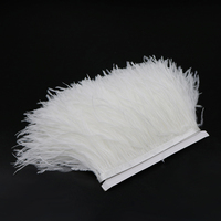 5 yards White Ostrich Feathers Fringe Trims Fluffy Feather Headdress Costume Accessories Decoration Ribbon Wedding Decorative