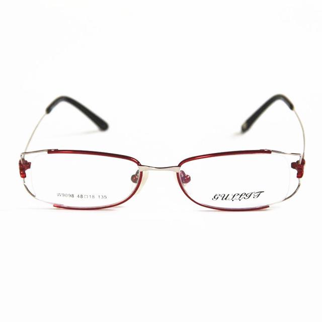 2015 Nova Moda Óculos Mulheres Full Metal-rim Óculos Frame Ótico Oculos de grau Femininos Da Marca Pode Colocar prescrição