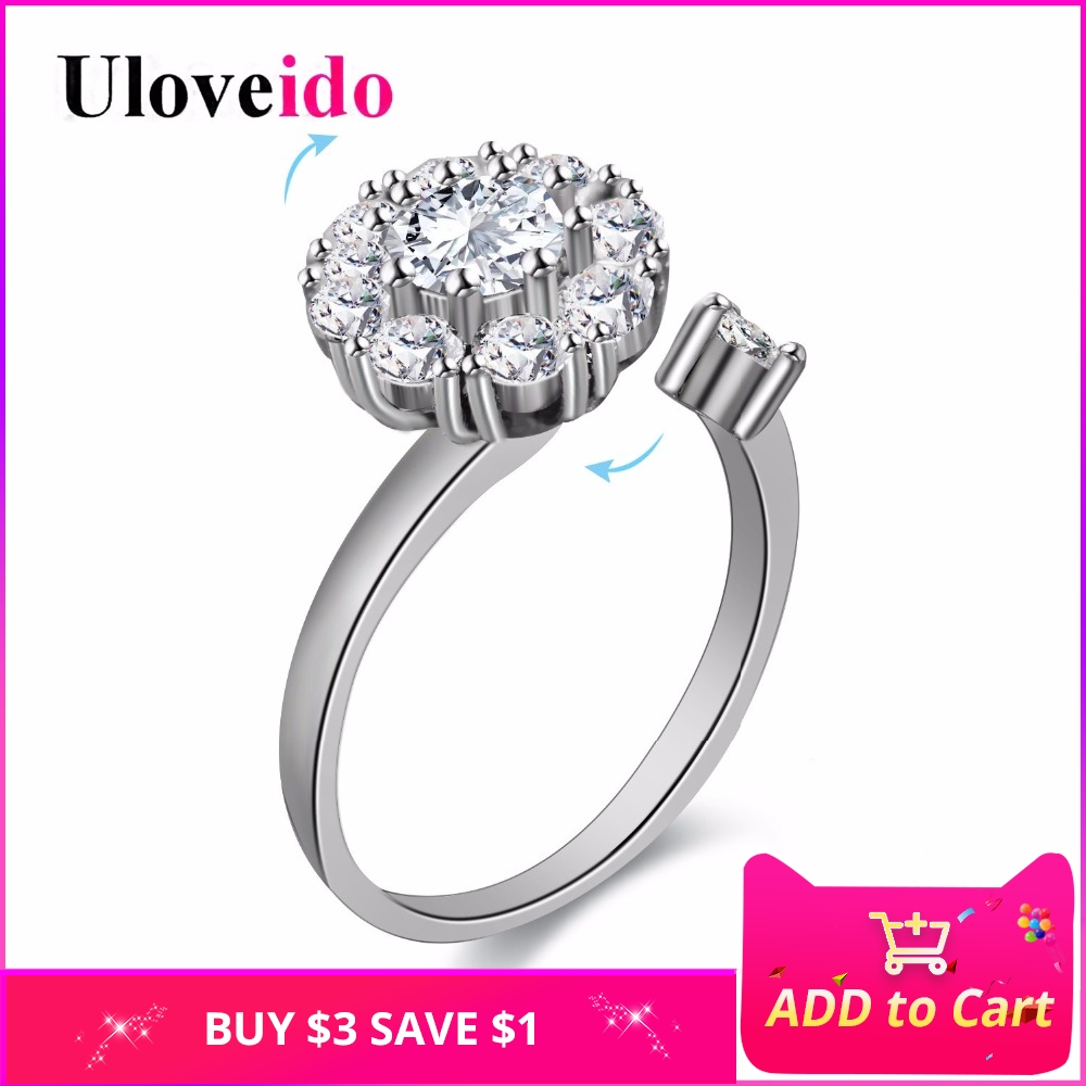 2fccfe1da Uloveido Adjustable Rotatable Spinner Rings for Women Wedding Engagement  Jewellery Ring with Stone Decorating Jewelry Tops PJ350-in Rings from  Jewelry ...