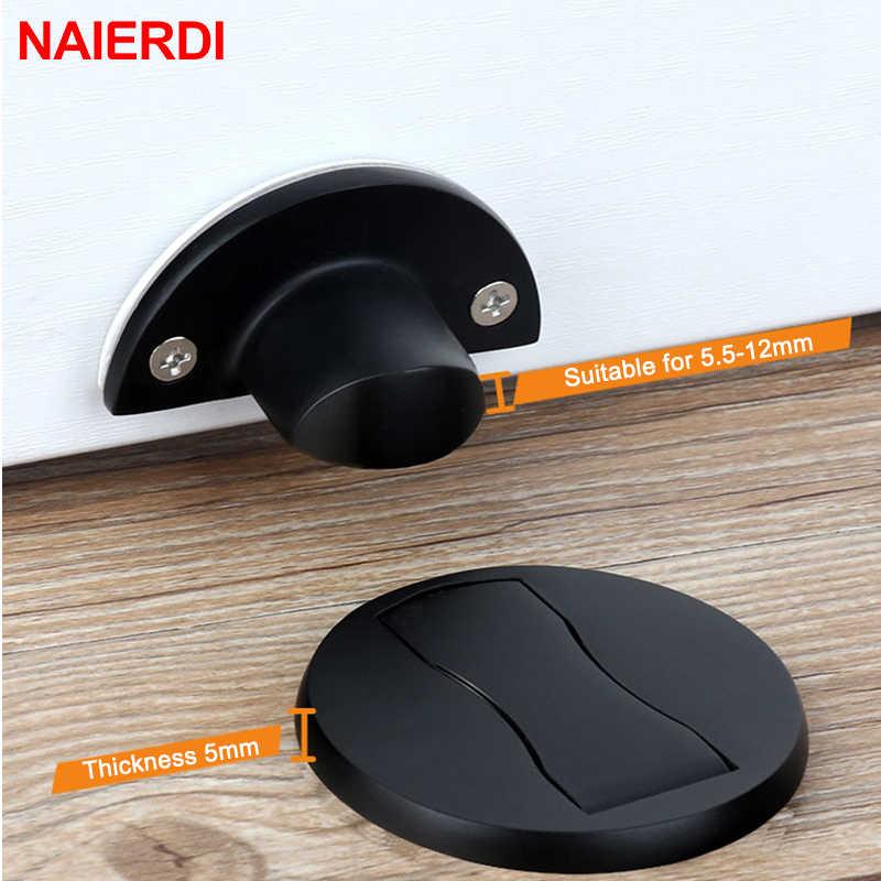 Naierdi ímã porta pára 304 porta de aço inoxidável rolha suportes magnéticos escondidos captura piso para móveis de banheiro ferragem