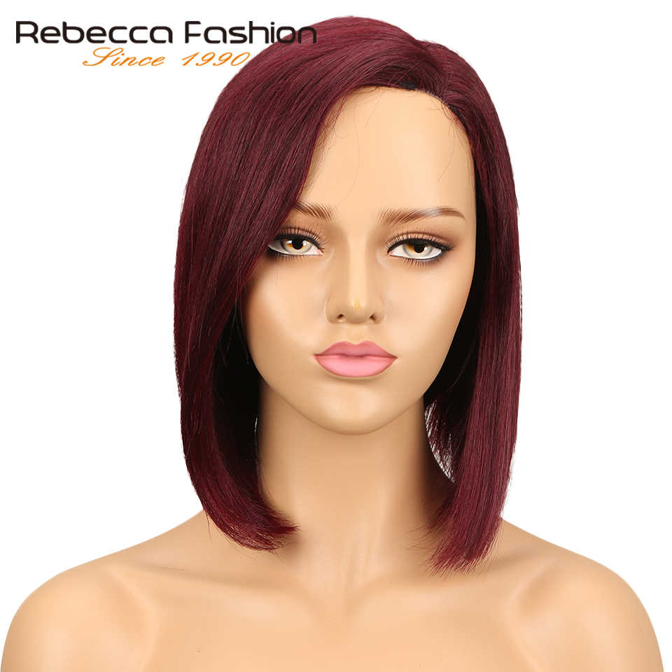 Rebecca Short Ombre Mix Color Human Hair Lace Wigs For Black Women Left Side Part Peruvian Remy Straight Hair Lace Wig Free Ship