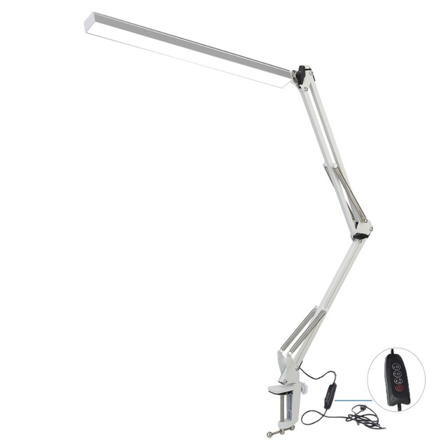 Swing Arm LED Desk Lamp, Metal  Architect Lamp, 3-level Dimmable Craft Light with Clamp,7.8W Drafting Table Lamp, White
