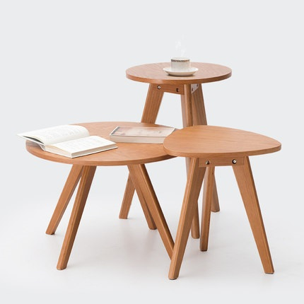 Solid wood coffee table round small table simple sofa side table Nordic side tableSolid wood coffee table round small table simple sofa side table Nordic side table