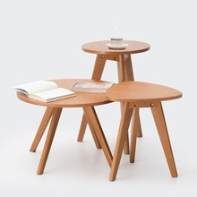 Solid wood coffee table round small simple sofa side Nordic