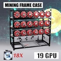 Open Air Frame Miner 19 GPU Mining Rig Frame+18 Fan For ETH Bitcoin Ethereum BTC Black/ Silver