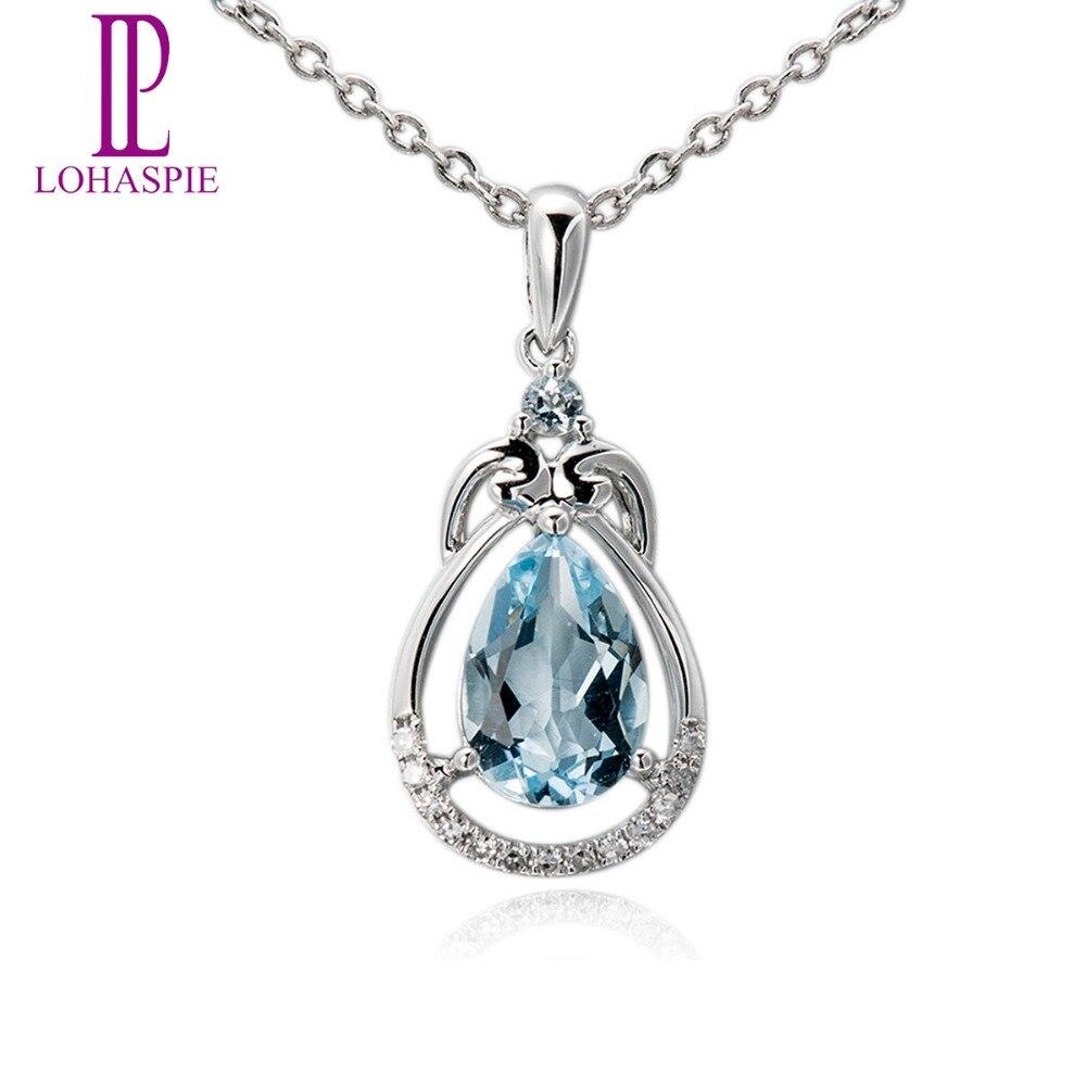 Lohaspie Diamond-Jewerly Gemstone Solid 18K 750 White Gold Natural Aquamarine Pendant Stone Jewelry For March Birthday Gift New