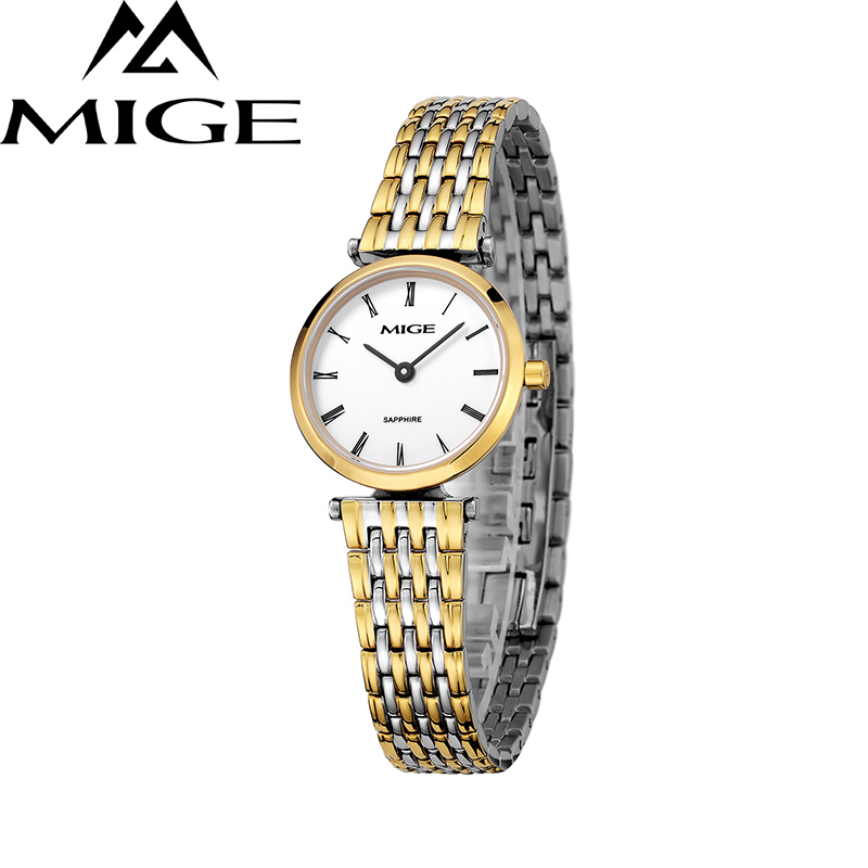 Mige 2017 New Hot Sale Fashion Lover Ladies Watch White Dial Gold Case Female Clock Ultrathin Waterproof Quartz Women Watches mige 2017 new hot sale lover man watch rose gold case white casual ultrathin waterproof relogio masculino quartz mans watches