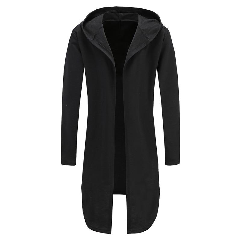 С капюшоном для отдыха хип-хоп Уличная Для мужчин куртка с капюшоном АСИММЕТРИЧНЫМ ПОДОЛОМ Длинный свитшот мужской пончо пальто накидка Пи...