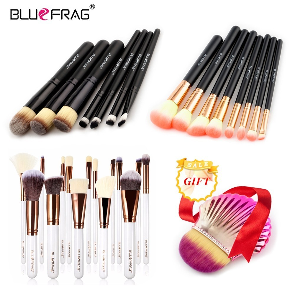 BLUEFRAG Buy 3 get 1 gift Makeup Brushes set Foundation Powder Make up Brush Tools Eyeshadow Eyeliner Lip Seashell Brushes set 24pcs makeup brushes set cosmetic make up tools set fan foundation powder brush eyeliner brushes leather case with pink puff