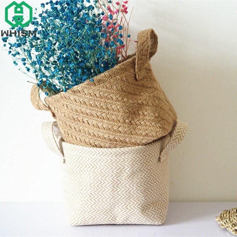 WHISM Handmade Storage Basket Blended Flower Pot Cotton Linen Laundry Baskets Weaving Plant Box Kids Toys Organizer Handle Bag