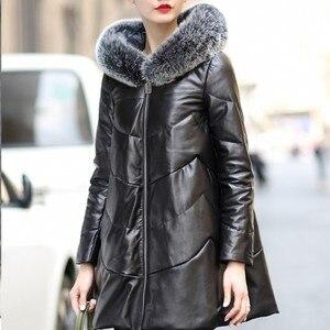 Image 3 - 2020 Loose נשים עורות כבשים מעיל כובע מעיל נשי נשים חורף למטה מעילי עור אמיתי מעיל גבירותיי מעילים בתוספת גודל M 4XL