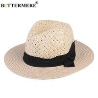 BUTTERMERE Panamahüte Beige Bowknot Beiläufige Elegante Stroh Hüte Klassische Designer Frühling Sommer Strand Sonnenhut Damen