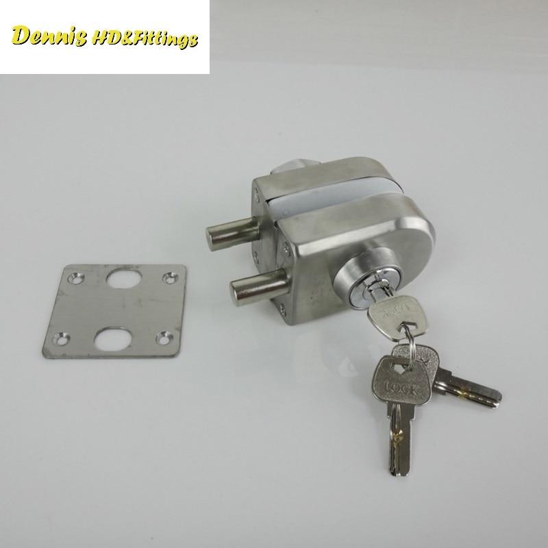 Premintehdw 304 Stainless Steel Entry Gate 10-12mm Glass Swing Push Door Lock Locks W Key Thumb Turning