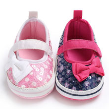 Children Shoes For Girl Cute Shoes Bow Baby Infant Kids Girl Sequins Soft Sole Crib Toddler Anti-Slip Newborn Shoes(China)
