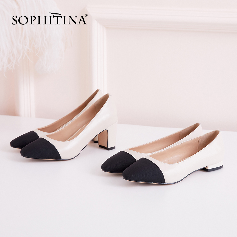 SOPHITINA Leisure Women's Pumps Square Heels Square Toe High Quality Genuine Leather Shoes Comfortable Shallow New Pumps SO118