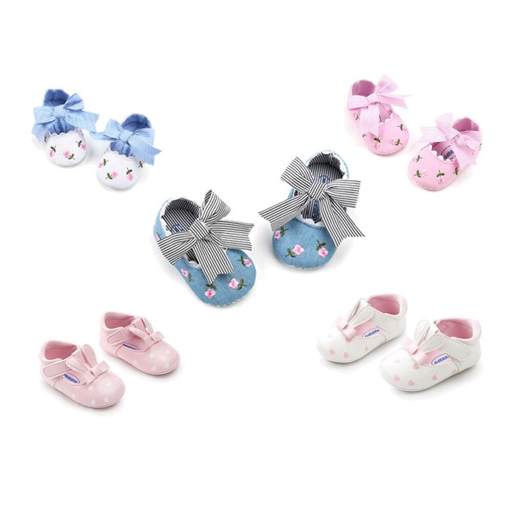 Newborn Toddler Baby Girl Crib Shoes Pram Soft Sole Prewalker Anti-slip Sneakers Flower Bowknot PU Toddler Shoes