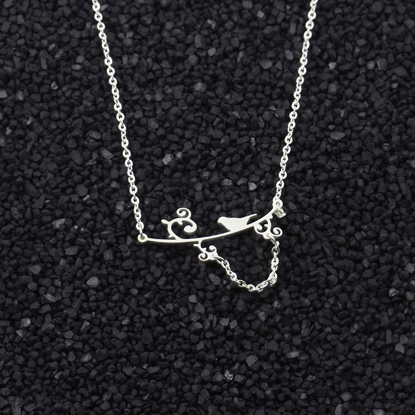 Stainless Steel Cute Bird On A Branch Lariat Necklace Simple Animal Jewelry For Women Kids Collier Femme Birthday Gifts