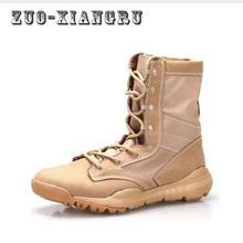 Baru Musim Semi / Musim Gugur Pria Kualitas Merek Militer Sepatu Bot Kulit Pasukan Khusus Taktis Gurun Sepatu Tempur Luar Sepatu Salju Boots