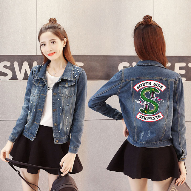 4c40d3c3df6 Women Denim Jacket Riverdale southside serpents Jeans bomber jacket Coat  Casual female Outwear Solid Plus Size big size 4XL 5XL