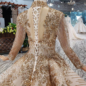 Image 5 - LS20470 Luxury muslim Wedding Dress high neck shiny sequins lacing up back handmade appliques bridal dress golden ślub