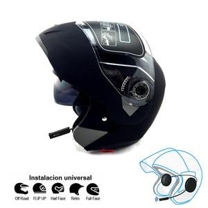 Image 1 - 오토바이 블루투스 헬멧 듀얼 바이저 모듈러 플립 bt 헬멧 레이싱 모토 크로스 헬멧 dot ece 스티커 M XXL 오토바이 헬멧