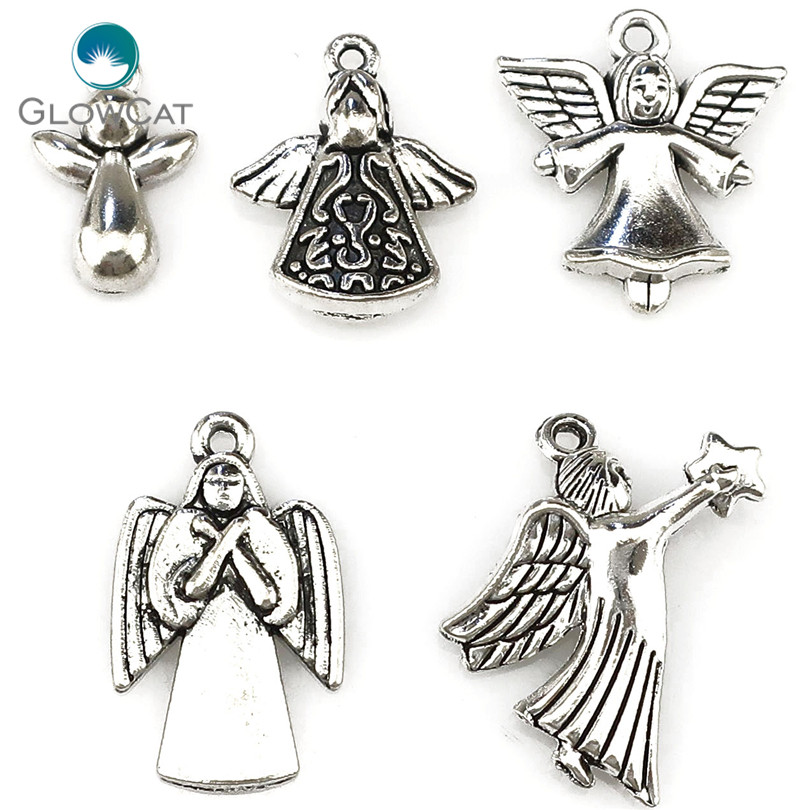 6Pcs Bulk Gold Filigree Angel Wings Charms Pendants for Jewelry DIY Findings