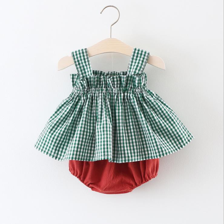 baby Girls Clothing Sets 2018 Summer fashion plaid suit Kids 2 pieces Clothes Toddler Dress outfits Children family product set new arrival baby boy clothes sets plaid gentleman suit infant toddler boys vest pants children kids clothing set outfits 2 8 age