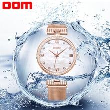 DOM Women's  Mesh steel belt Watches Womens Females Antique Geneva Quartz-watch Ladies Brands Wristwatch Relojes Mujer