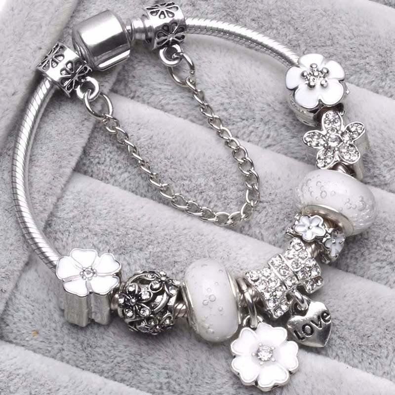 BAOPON Прямая поставка винтажные Подвески серебряного цвета браслеты для женщин DIY Кристальные бусины изящные браслеты для женщин Pulseira ювелирные изделия - Окраска металла: Type 3