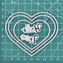 YaMinSanNiO 81*68mm Heart Letter Metal Cutting Dies Scrapbooking for Card Making DIY Embossing Cuts New Craft Die Hello Love