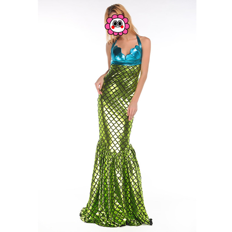 Halloween Carnival Blue Green Slim Women Mermaid Costume Cosplay Long Fancy Dresses Clothing for Women Party Costumes