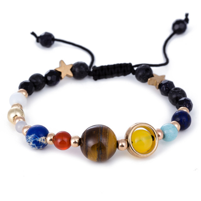Universe Galaxy Solar System Eight Planets Guardian Star Natural Stone Beads Bracelet Yoga Charm Bracelet for Women & Men Gift