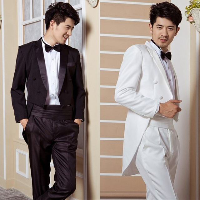 Dinner Will Be Black And White Tuxedo Wedding Groom Men Mens Tail Coat Suits