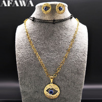 2017 Evil Eye Stainless Steel Jewelery Costumet Women Gold Color Necklace Earings Fashion Jewelry Parure Bijoux