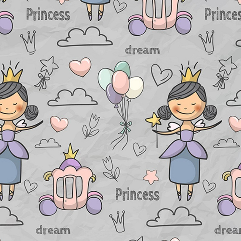 Fairy gold princess crown prince Balloon Cloud Gray Pumpkin Carriage theme Vinyl cloth Computer printed wall Backgrounds